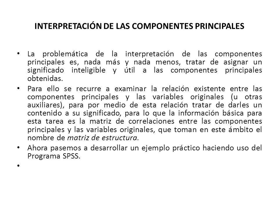 INTERPRETACIÓN DE LAS COMPONENTES PRINCIPALES