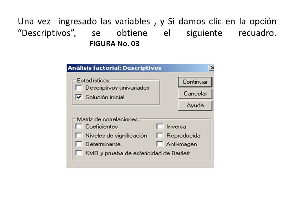 Una vez ingresado las variables , y Si damos clic en la opción Descriptivos , se obtiene el siguiente recuadro.