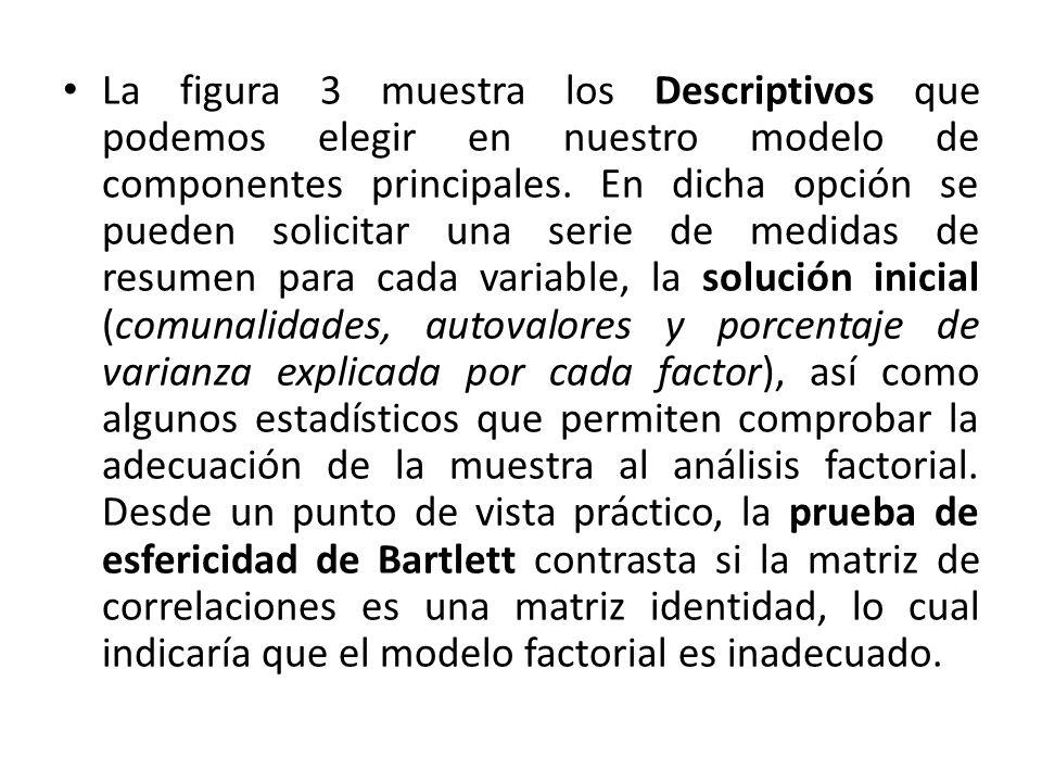 La figura 3 muestra los Descriptivos que podemos elegir en nuestro modelo de componentes principales.