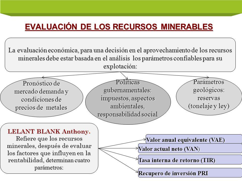 EVALUACIÓN DE LOS RECURSOS MINERABLES