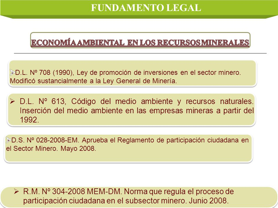 FUNDAMENTO LEGAL ECONOMÍA AMBIENTAL EN LOS RECURSOS MINERALES