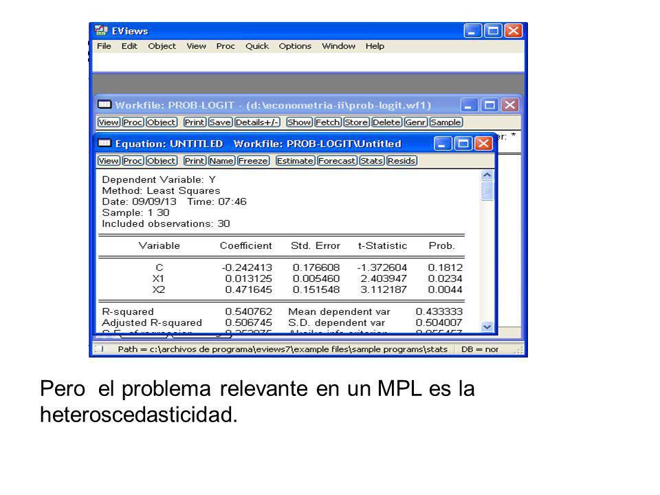 Pero el problema relevante en un MPL es la heteroscedasticidad.