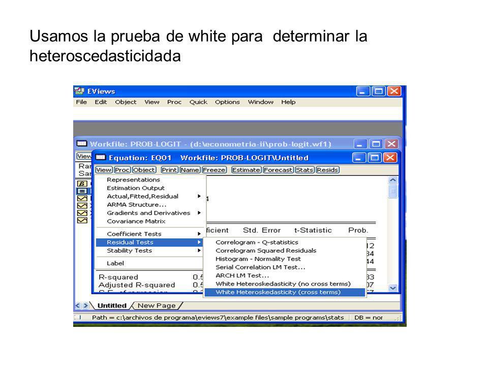 Usamos la prueba de white para determinar la heteroscedasticidada
