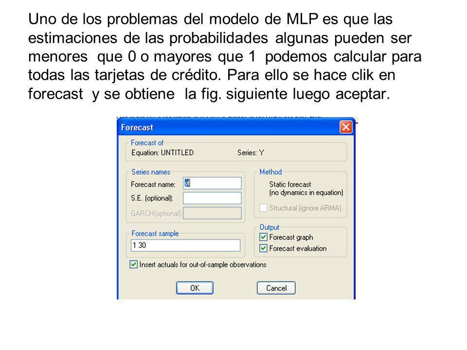 Uno de los problemas del modelo de MLP es que las estimaciones de las probabilidades algunas pueden ser menores que 0 o mayores que 1 podemos calcular para todas las tarjetas de crédito.