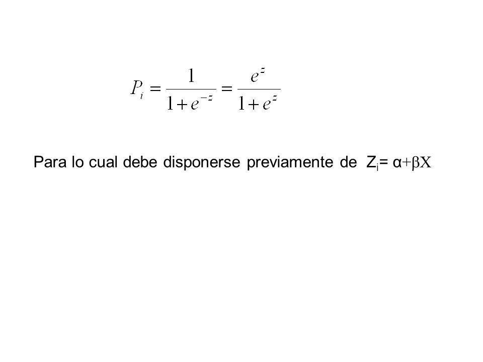 Para lo cual debe disponerse previamente de Zi= α+bX