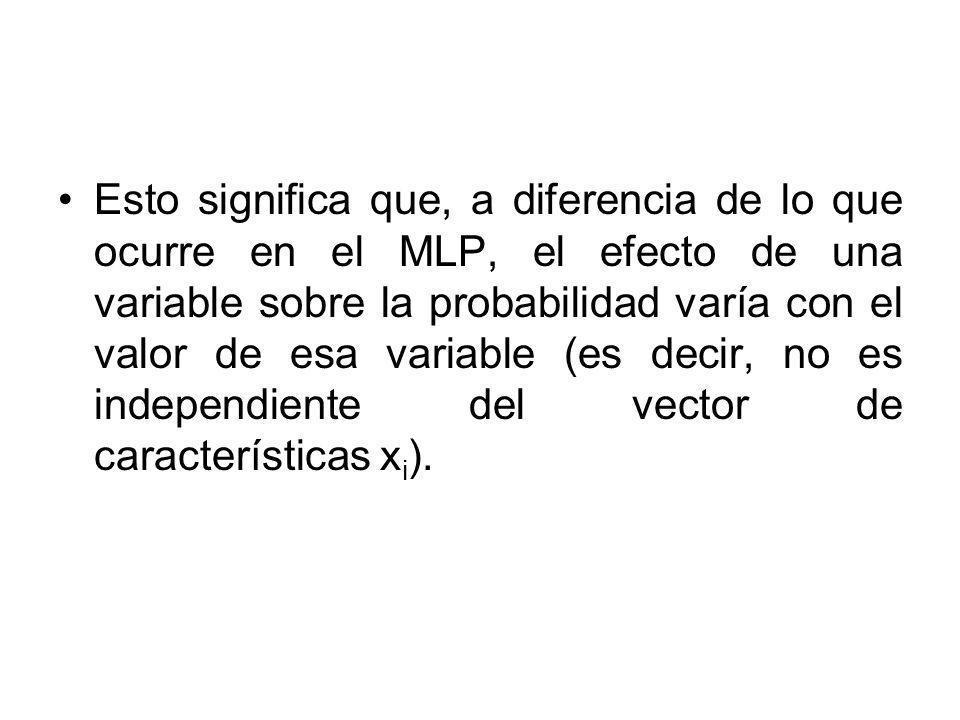 Esto significa que, a diferencia de lo que ocurre en el MLP, el efecto de una variable sobre la probabilidad varía con el valor de esa variable (es decir, no es independiente del vector de características xi).
