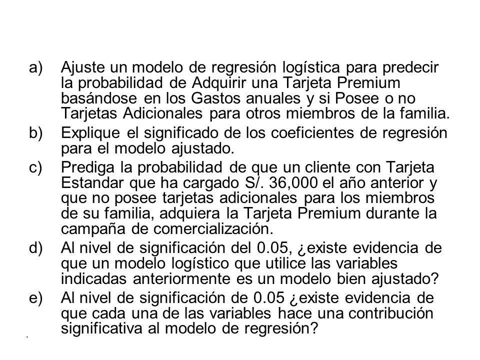 Ajuste un modelo de regresión logística para predecir la probabilidad de Adquirir una Tarjeta Premium basándose en los Gastos anuales y si Posee o no Tarjetas Adicionales para otros miembros de la familia.