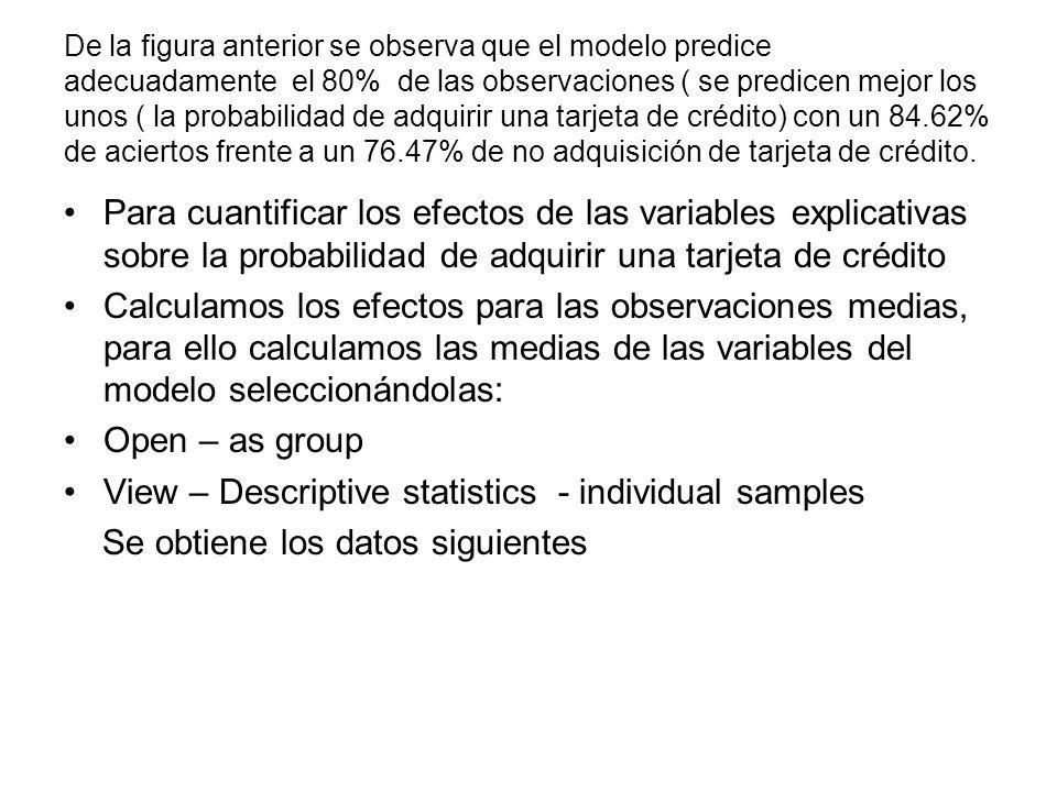 View – Descriptive statistics - individual samples