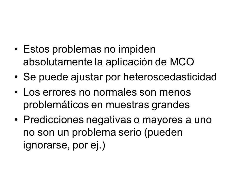 Estos problemas no impiden absolutamente la aplicación de MCO