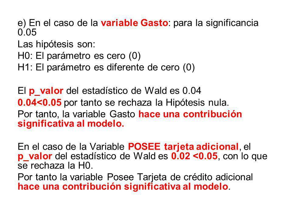 e) En el caso de la variable Gasto: para la significancia 0.05
