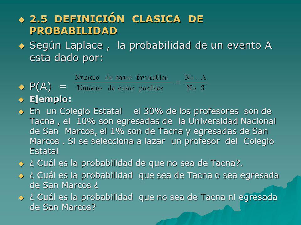 2.5 DEFINICIÓN CLASICA DE PROBABILIDAD
