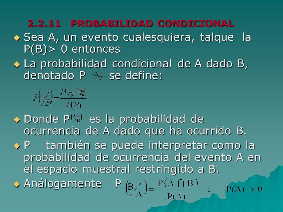 Sea A, un evento cualesquiera, talque la P(B)> 0 entonces