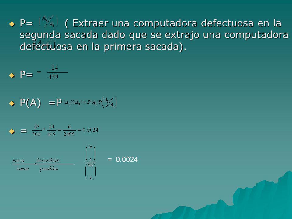 P= ( Extraer una computadora defectuosa en la segunda sacada dado que se extrajo una computadora defectuosa en la primera sacada).