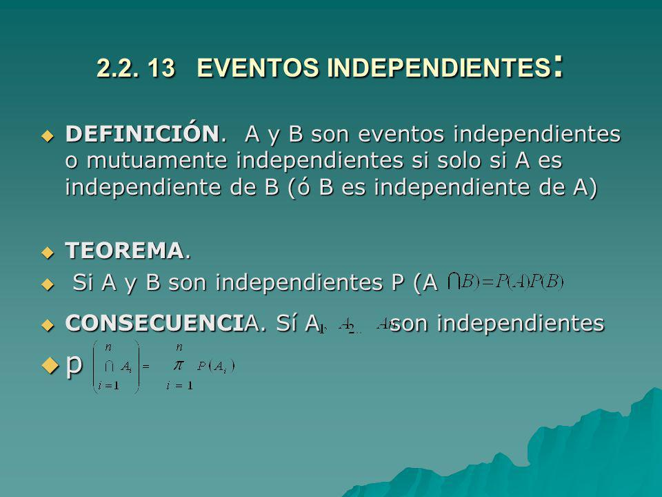 2.2. 13 EVENTOS INDEPENDIENTES: