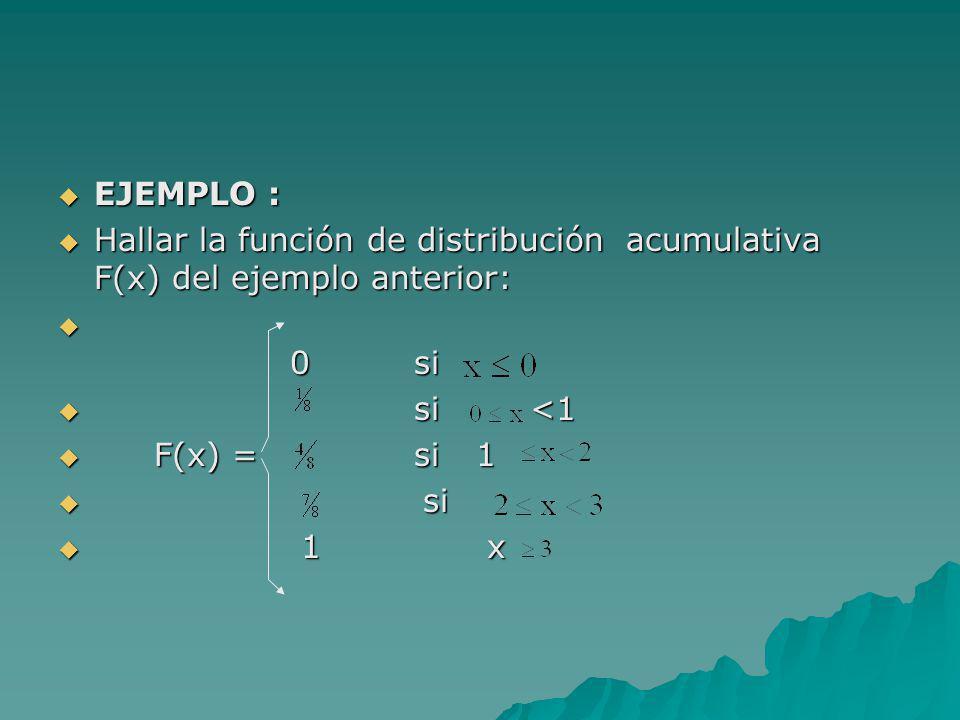 EJEMPLO : Hallar la función de distribución acumulativa F(x) del ejemplo anterior: 0 si. si <1.