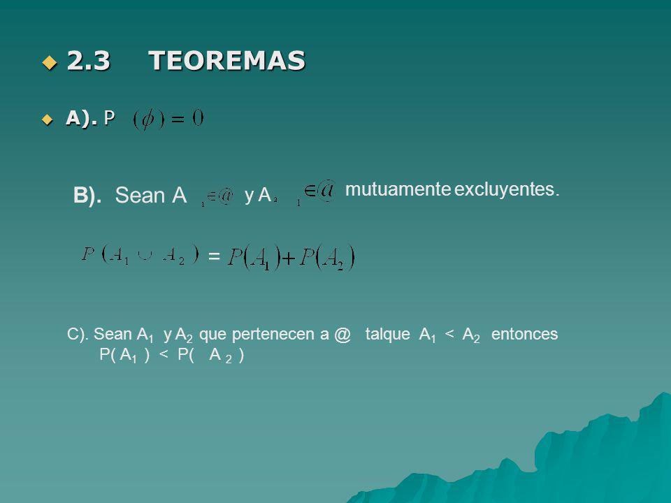 2.3 TEOREMAS A). P. B). Sean A. mutuamente excluyentes. y A. = C). Sean A1 y A2 que pertenecen a @ talque A1 < A2 entonces.