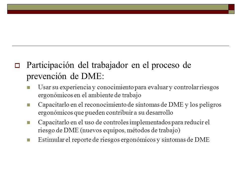 Participación del trabajador en el proceso de prevención de DME: