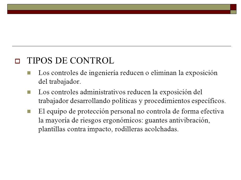 TIPOS DE CONTROL Los controles de ingeniería reducen o eliminan la exposición del trabajador.