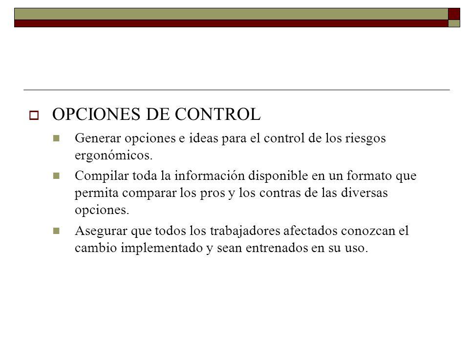 OPCIONES DE CONTROL Generar opciones e ideas para el control de los riesgos ergonómicos.
