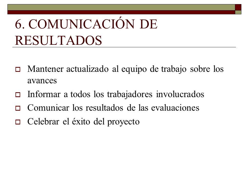 6. COMUNICACIÓN DE RESULTADOS