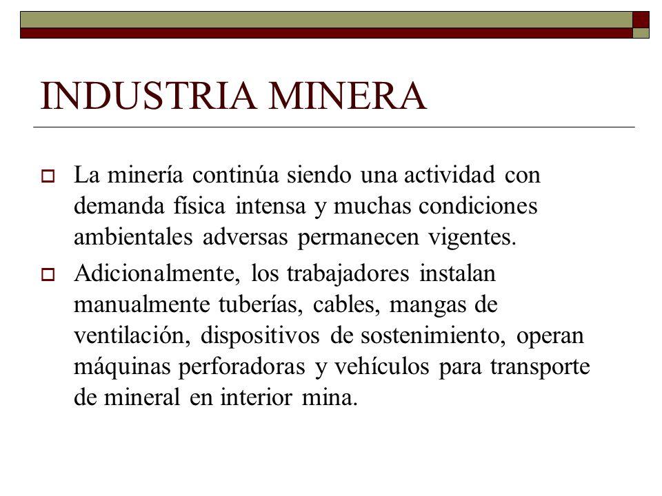 INDUSTRIA MINERA La minería continúa siendo una actividad con demanda física intensa y muchas condiciones ambientales adversas permanecen vigentes.
