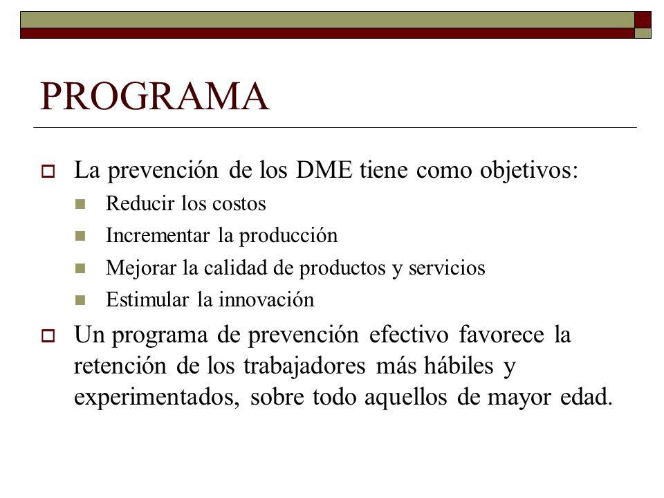 PROGRAMA La prevención de los DME tiene como objetivos:
