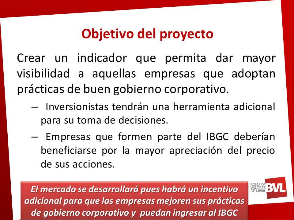 Objetivo del proyecto Crear un indicador que permita dar mayor visibilidad a aquellas empresas que adoptan prácticas de buen gobierno corporativo.