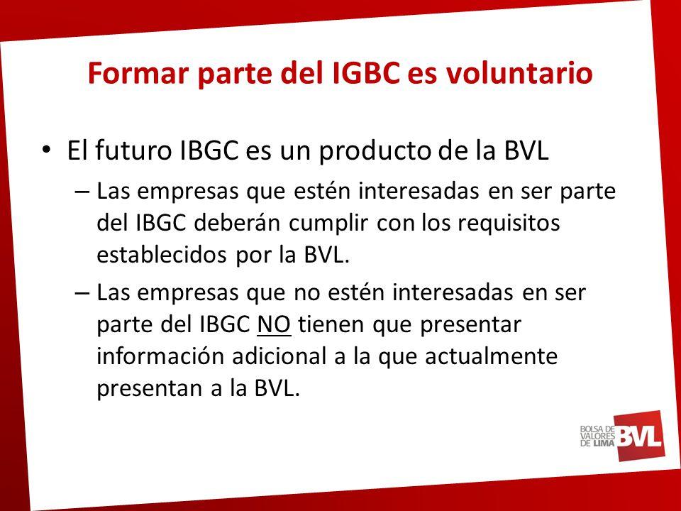 Formar parte del IGBC es voluntario