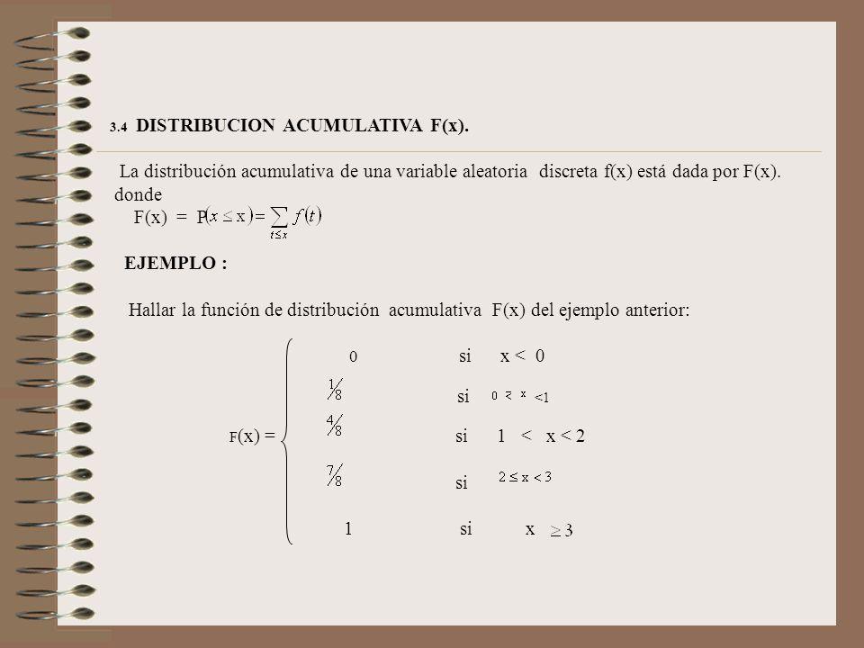 3.4 DISTRIBUCION ACUMULATIVA F(x). La distribución acumulativa de una variable aleatoria discreta f(x) está dada por F(x).