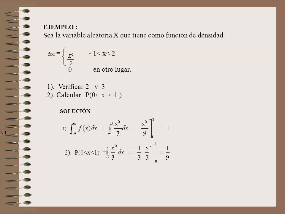 Sea la variable aleatoria X que tiene como función de densidad.