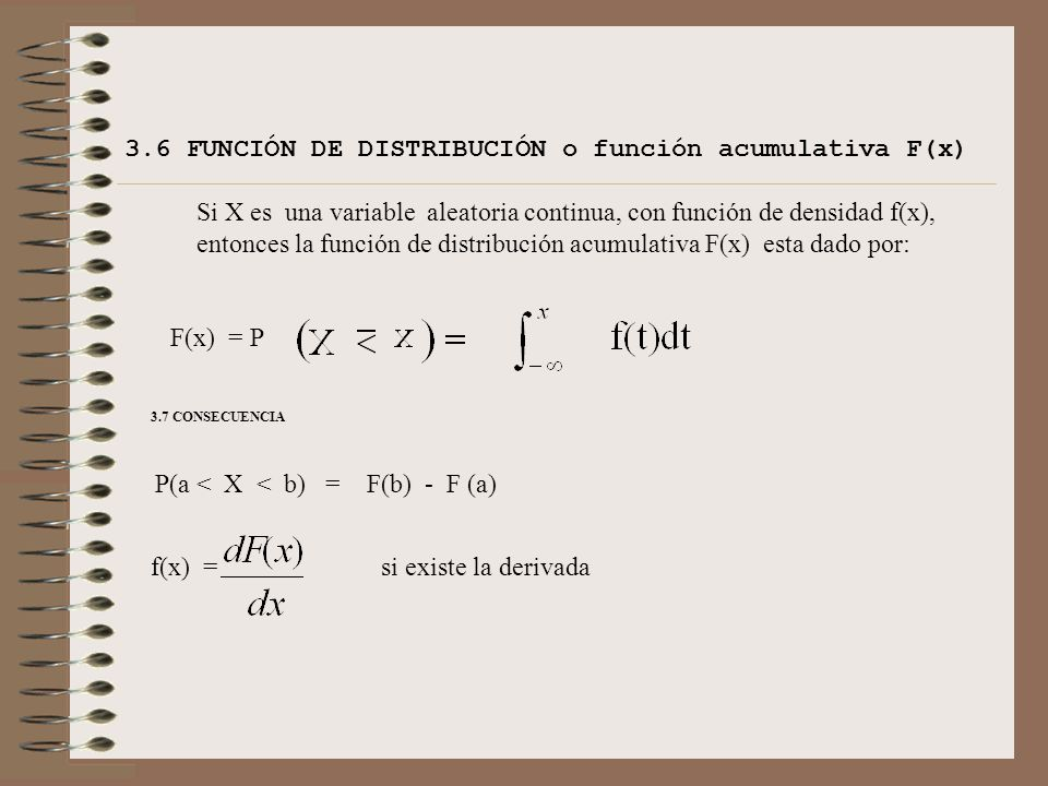 3.6 FUNCIÓN DE DISTRIBUCIÓN o función acumulativa F(x)