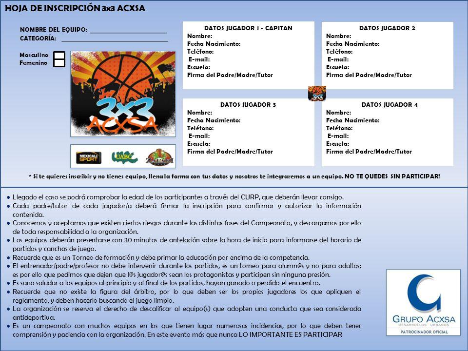 HOJA DE INSCRIPCIÓN 3x3 ACXSA