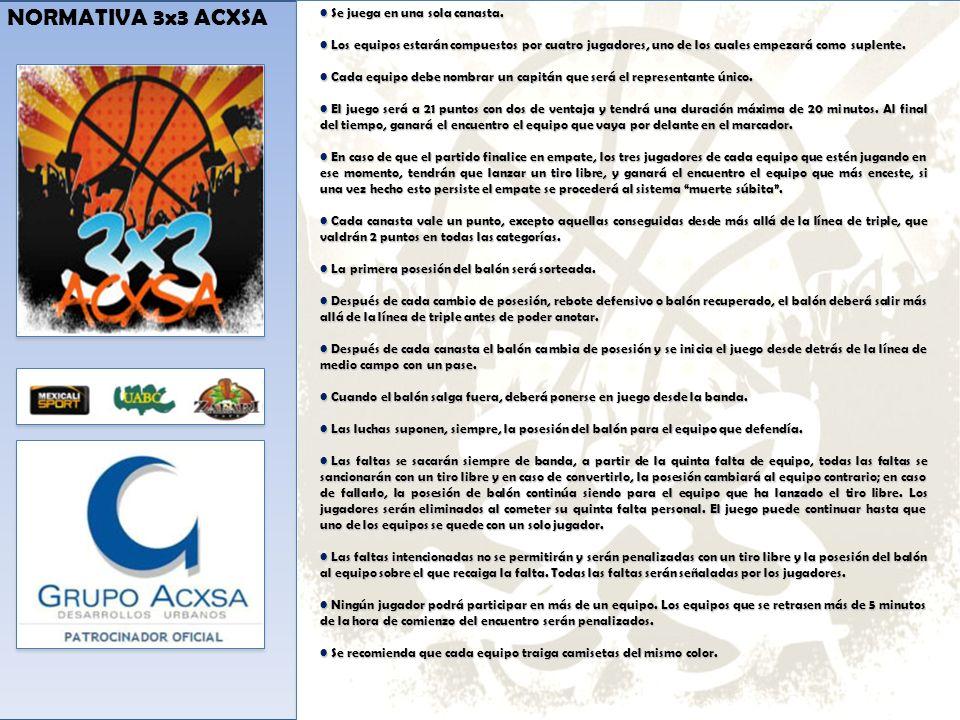 NORMATIVA 3x3 ACXSA Se juega en una sola canasta.