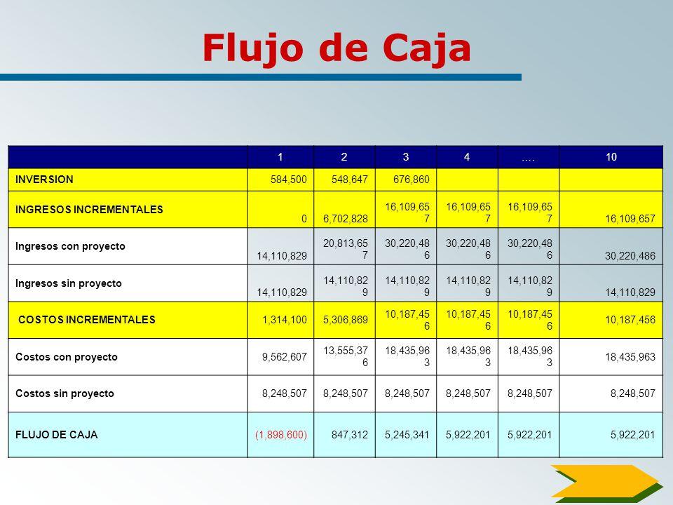 Flujo de Caja 1 2 3 4 …. 10 INVERSION 584,500 548,647 676,860