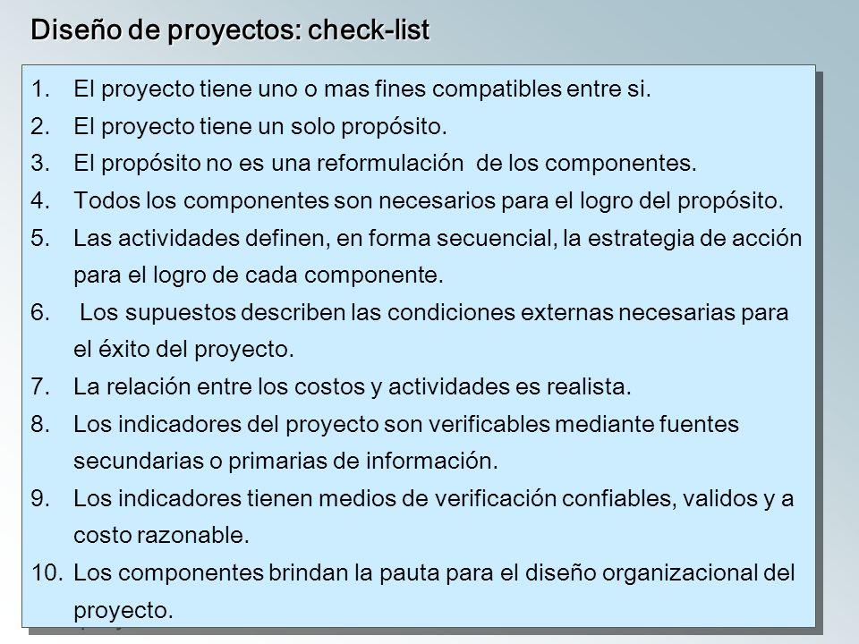 Diseño de proyectos: check-list
