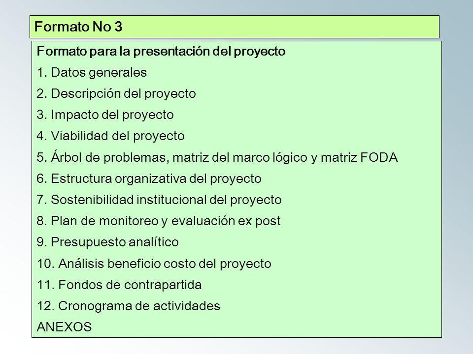 Formato No 3 Formato para la presentación del proyecto