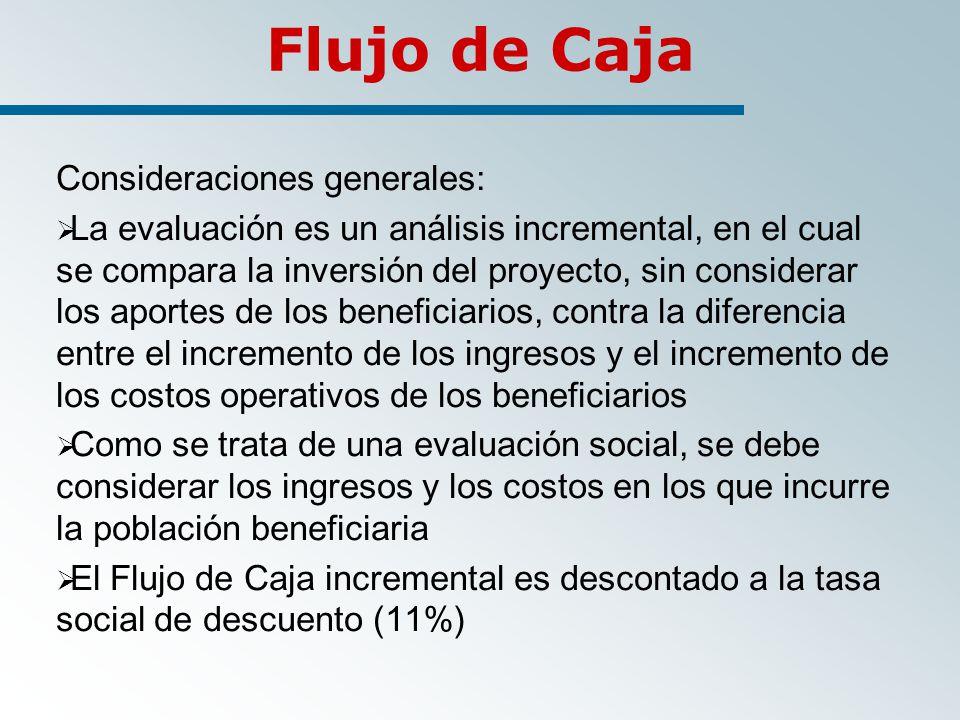 Flujo de Caja Consideraciones generales: