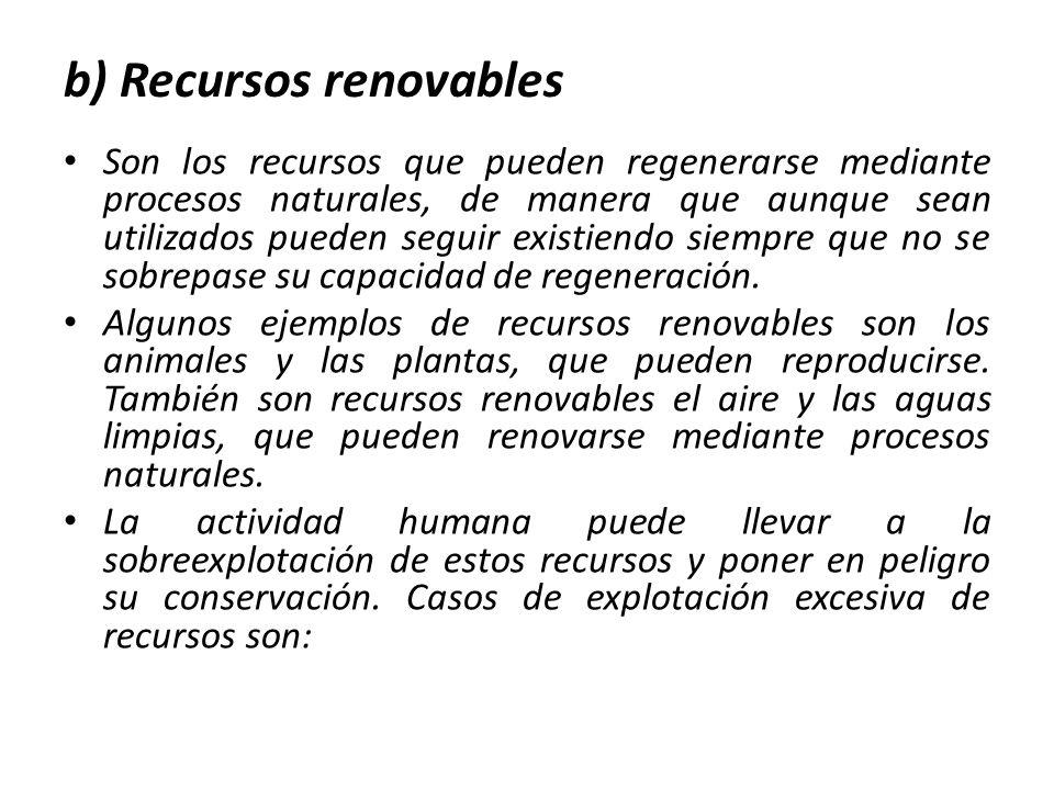 b) Recursos renovables