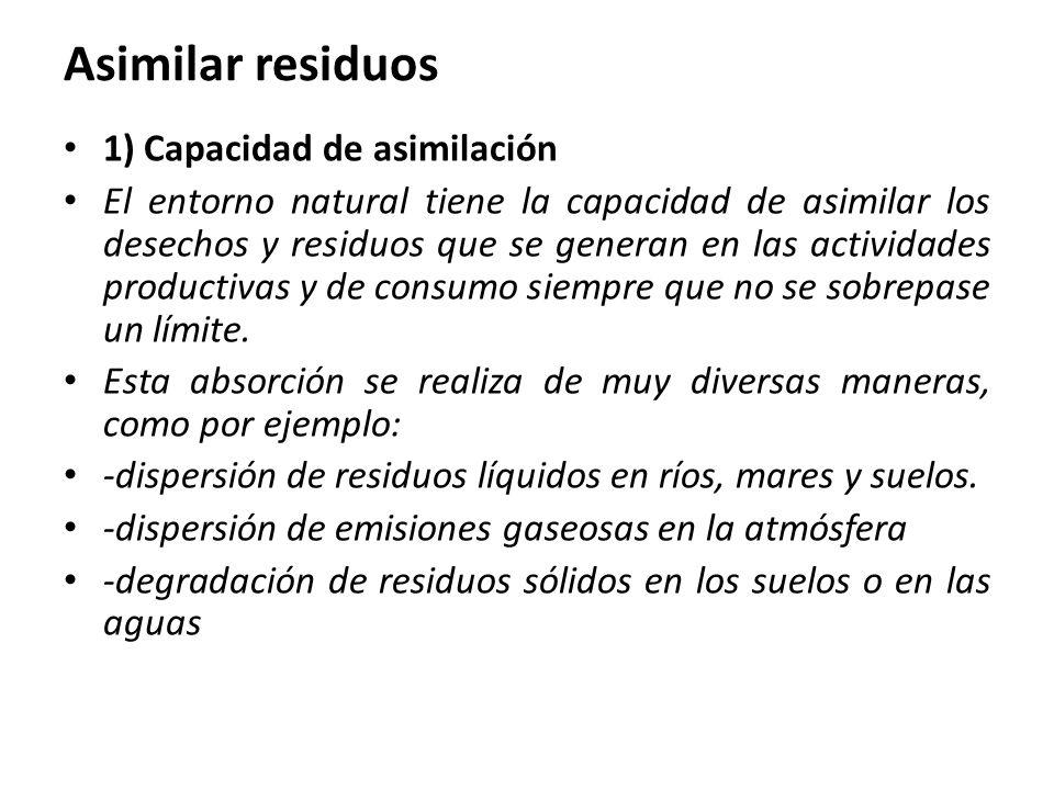 Asimilar residuos 1) Capacidad de asimilación