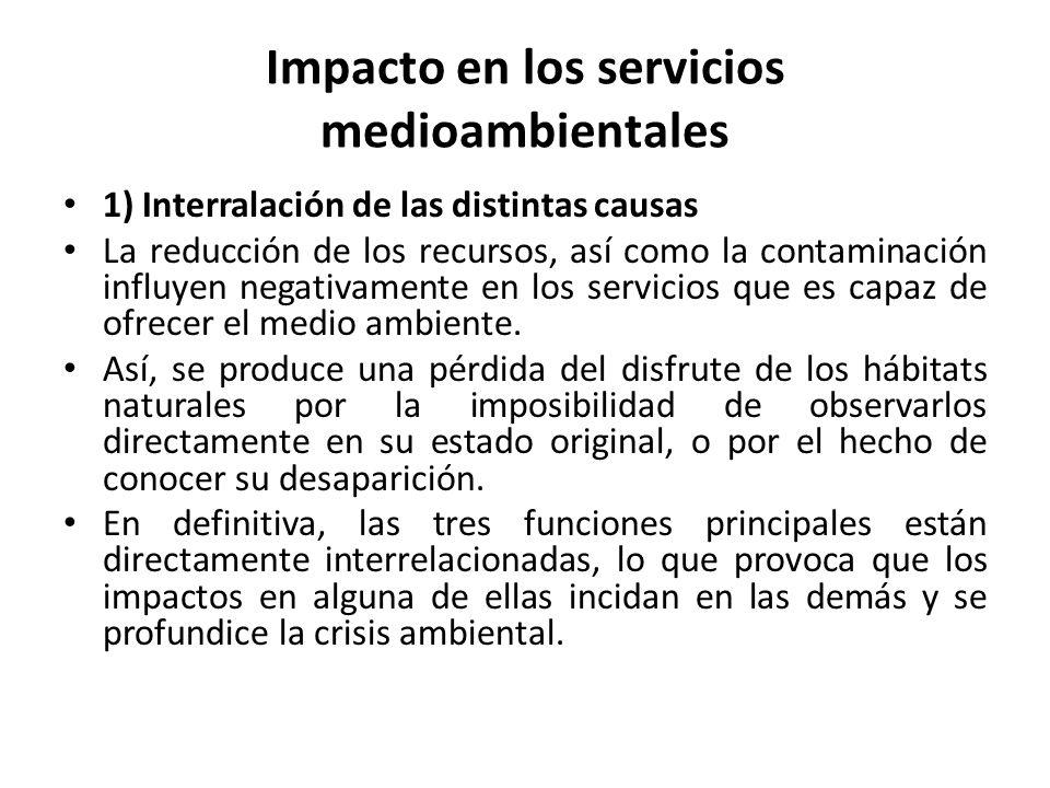 Impacto en los servicios medioambientales
