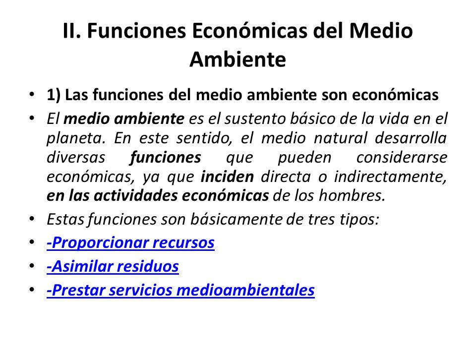 II. Funciones Económicas del Medio Ambiente
