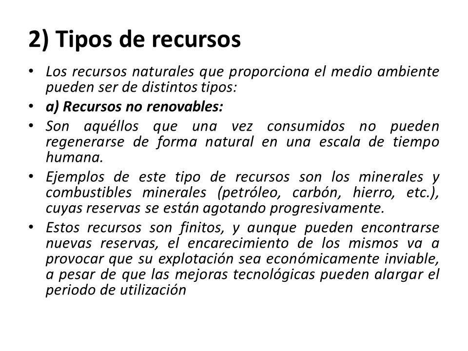 2) Tipos de recursos Los recursos naturales que proporciona el medio ambiente pueden ser de distintos tipos: