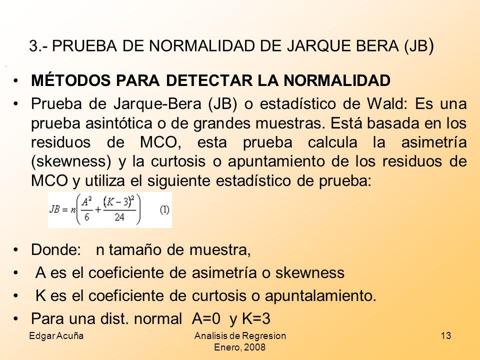 3.- PRUEBA DE NORMALIDAD DE JARQUE BERA (JB)