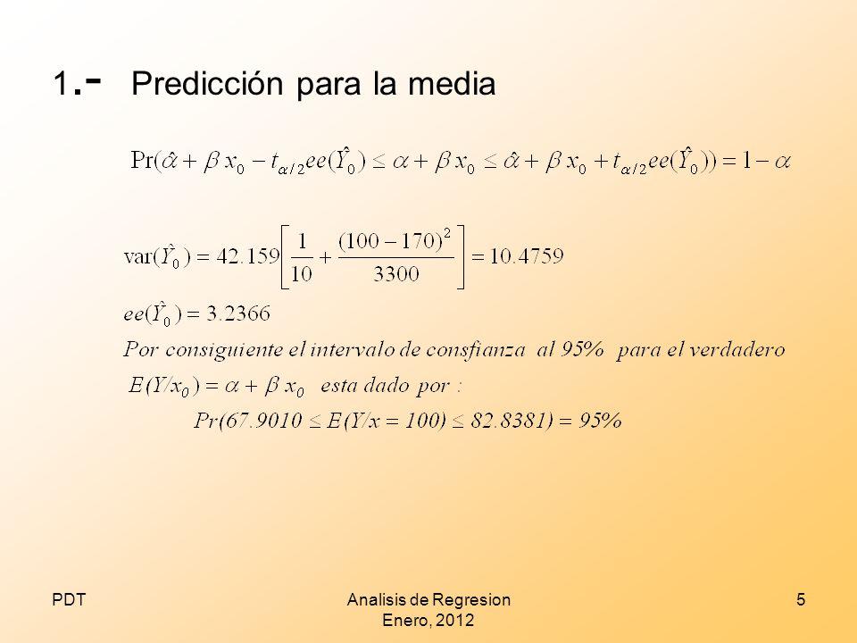 1.- Predicción para la media