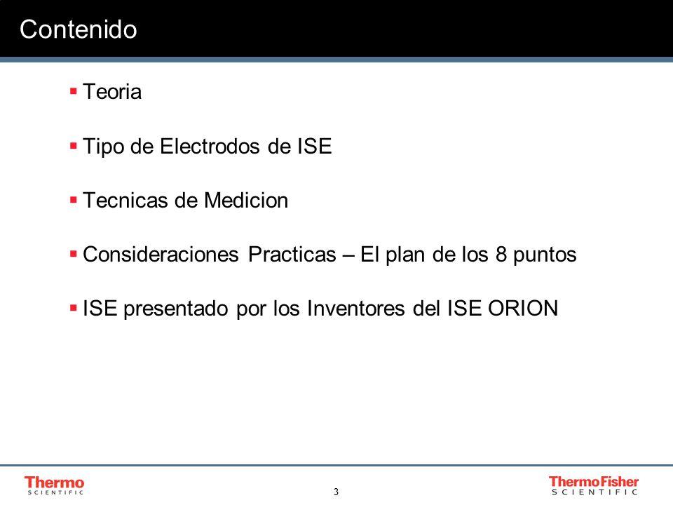 Contenido Teoria Tipo de Electrodos de ISE Tecnicas de Medicion