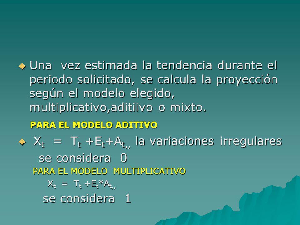 Xt = Tt +Et+At,, la variaciones irregulares se considera 0