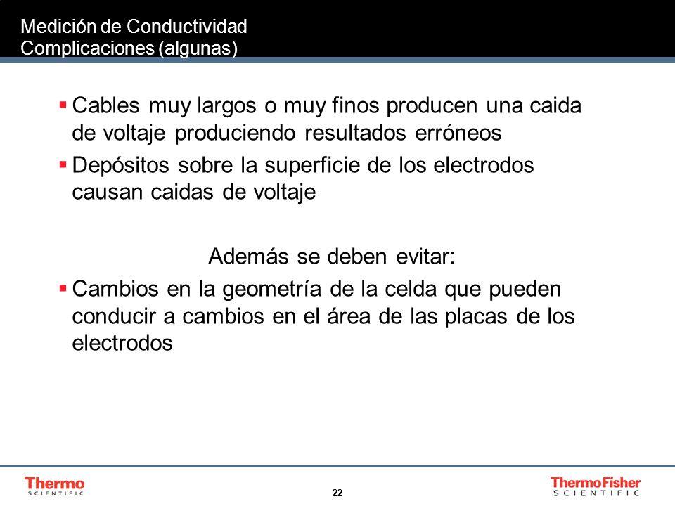 Medición de Conductividad Complicaciones (algunas)