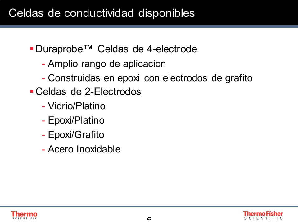 Celdas de conductividad disponibles