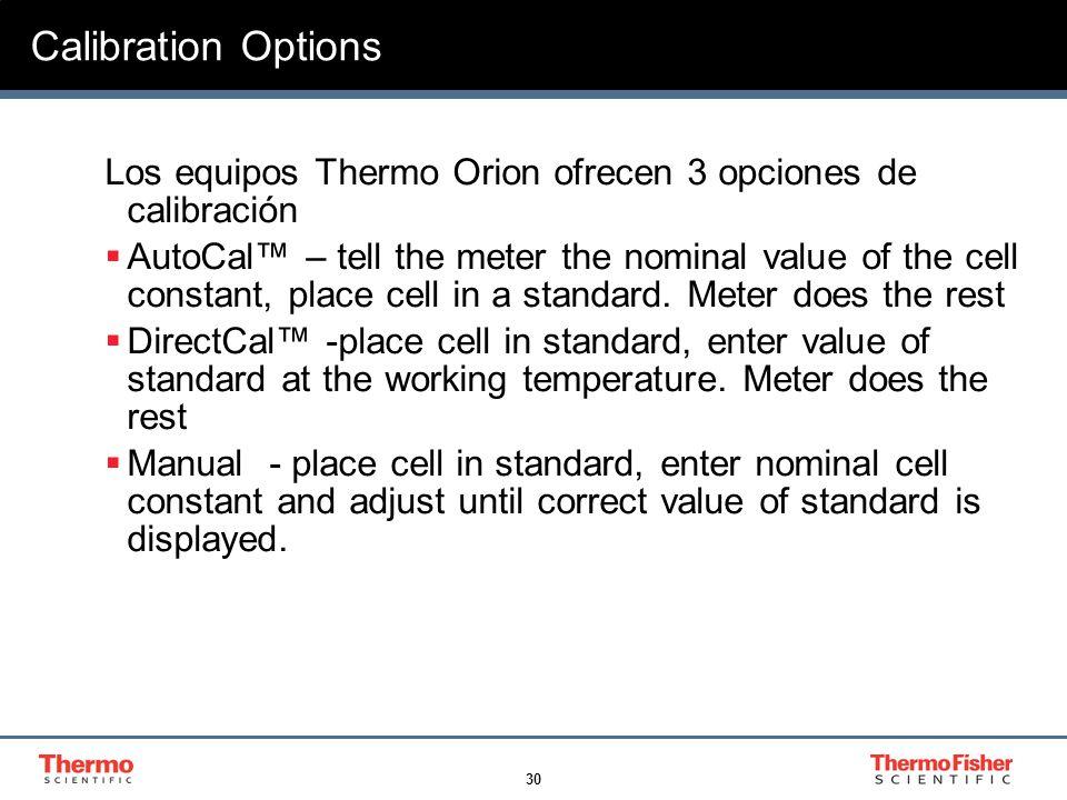 Calibration Options Los equipos Thermo Orion ofrecen 3 opciones de calibración.