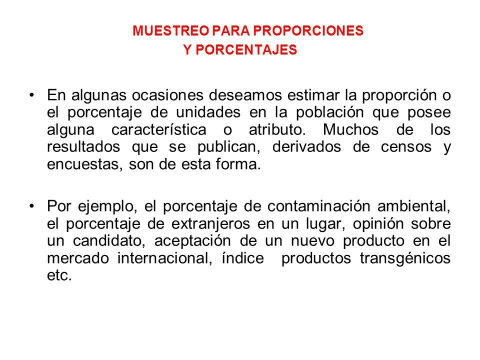 MUESTREO PARA PROPORCIONES Y PORCENTAJES